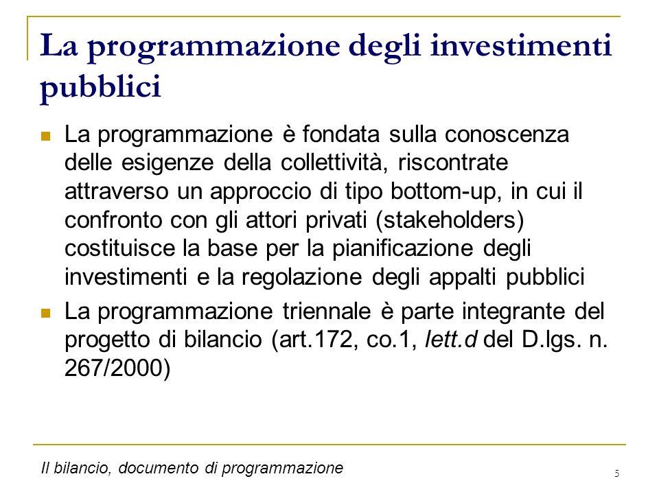 La programmazione degli investimenti pubblici