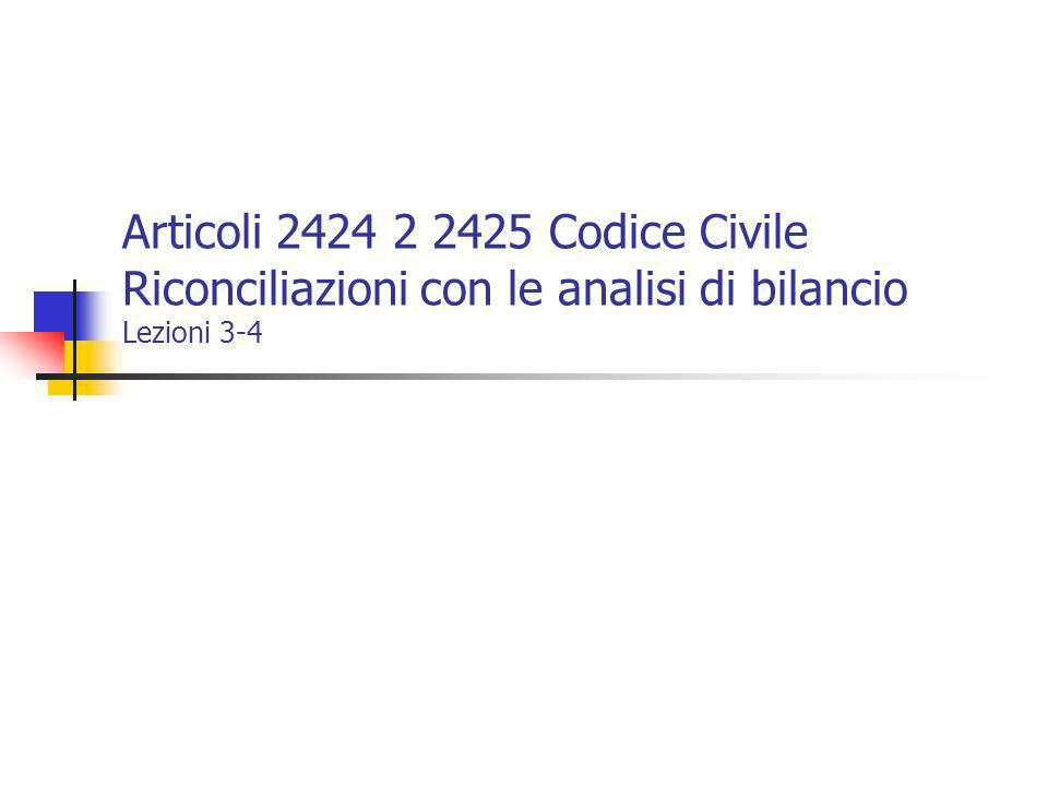 Articoli 2424 2 2425 Codice Civile Riconciliazioni con le analisi di bilancio Lezioni 3-4