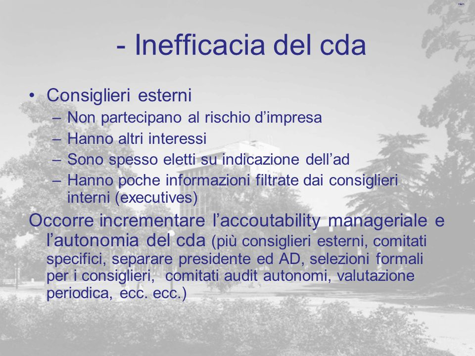 - Inefficacia del cda Consiglieri esterni