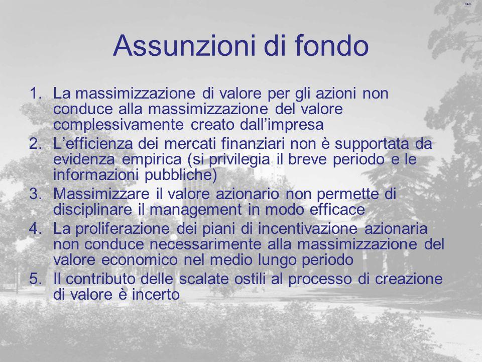 Assunzioni di fondo La massimizzazione di valore per gli azioni non conduce alla massimizzazione del valore complessivamente creato dall'impresa.