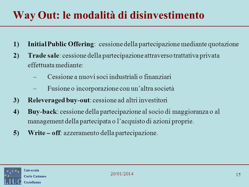 Way Out: le modalità di disinvestimento
