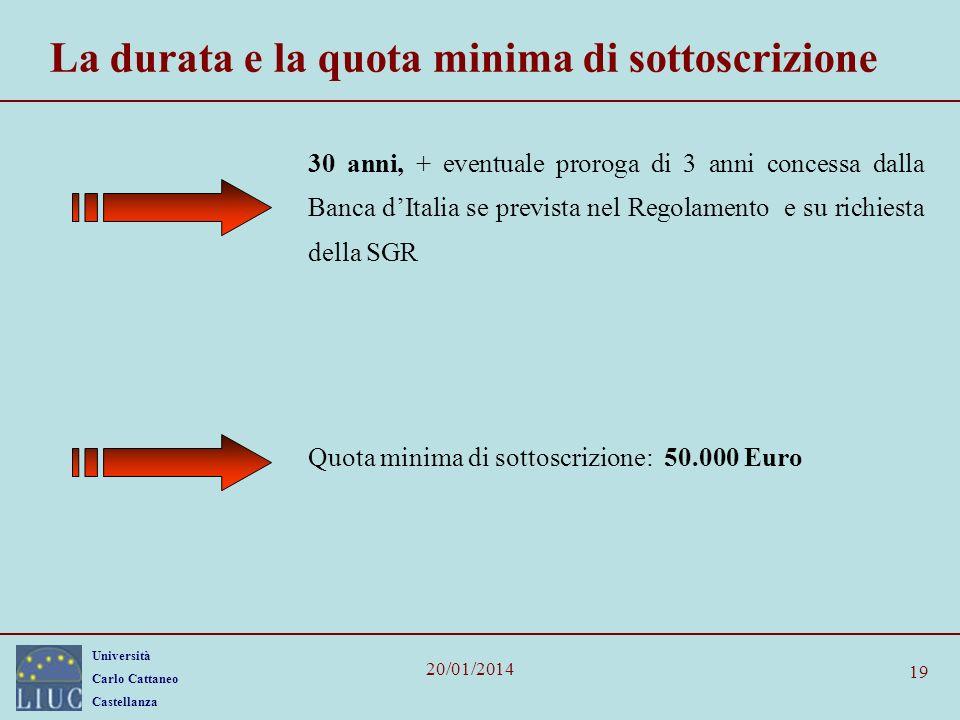 La durata e la quota minima di sottoscrizione