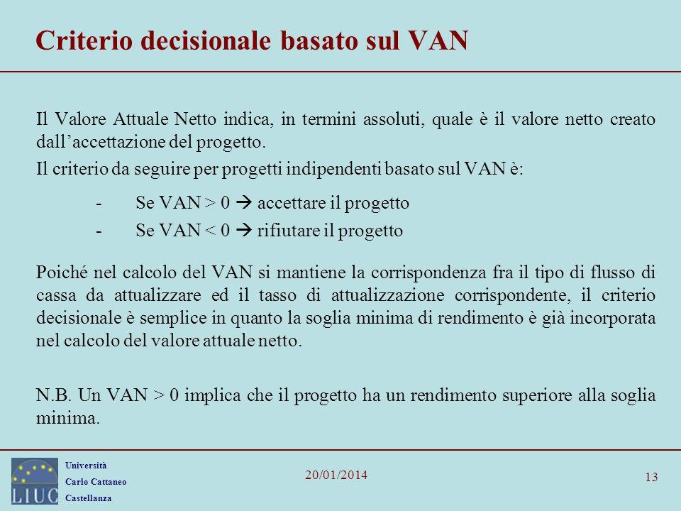 Criterio decisionale basato sul VAN