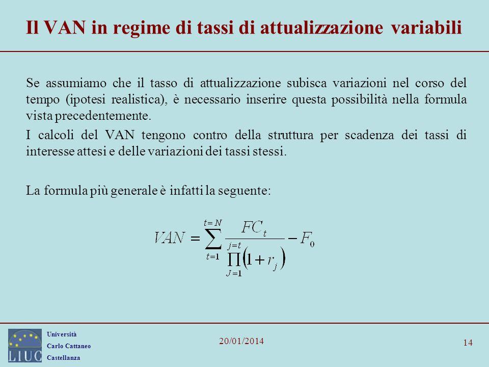Il VAN in regime di tassi di attualizzazione variabili