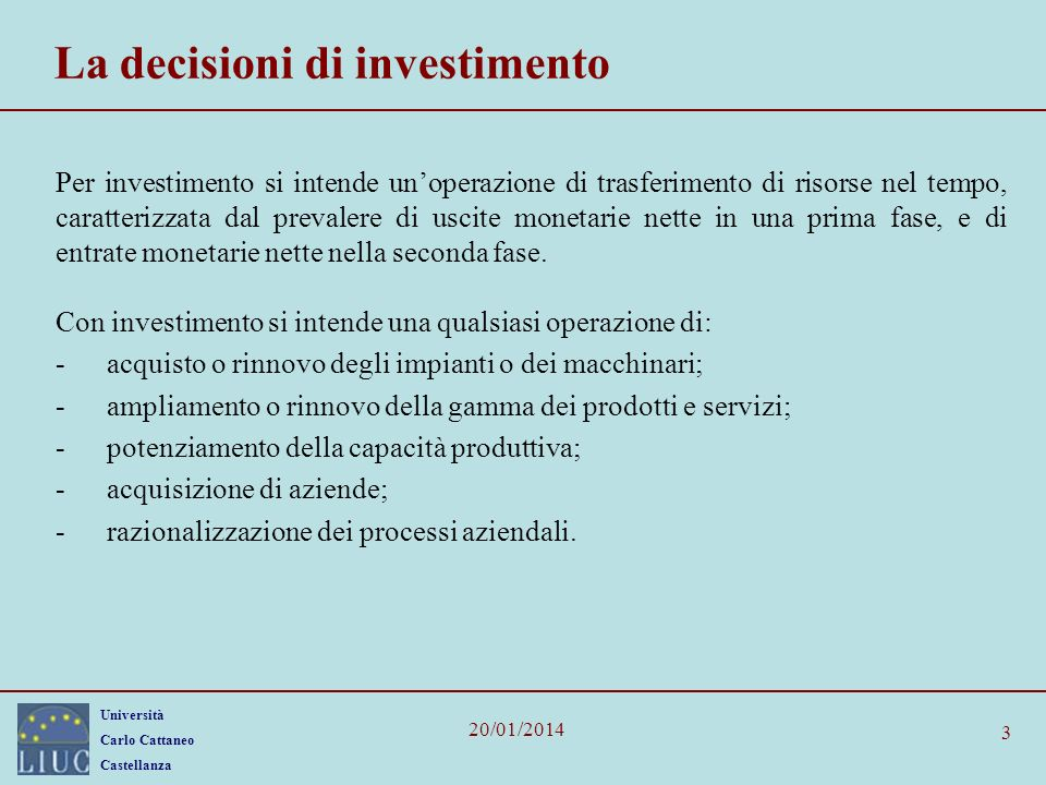 La decisioni di investimento