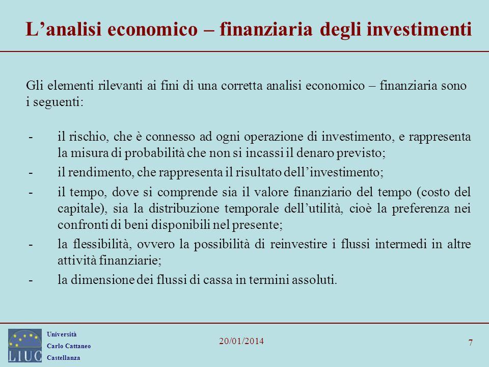 L'analisi economico – finanziaria degli investimenti