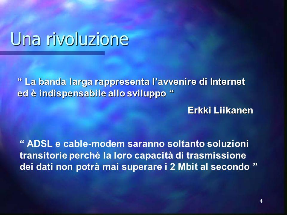 Una rivoluzione La banda larga rappresenta l'avvenire di Internet ed è indispensabile allo sviluppo