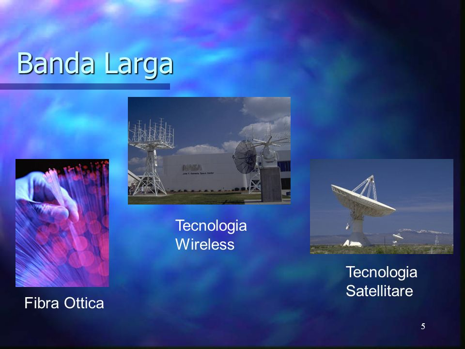 Banda Larga Tecnologia Wireless Tecnologia Satellitare Fibra Ottica