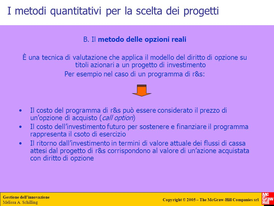I metodi quantitativi per la scelta dei progetti
