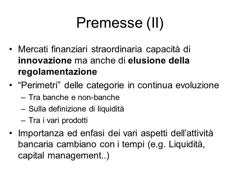 Premesse (II) Mercati finanziari straordinaria capacità di innovazione ma anche di elusione della regolamentazione.