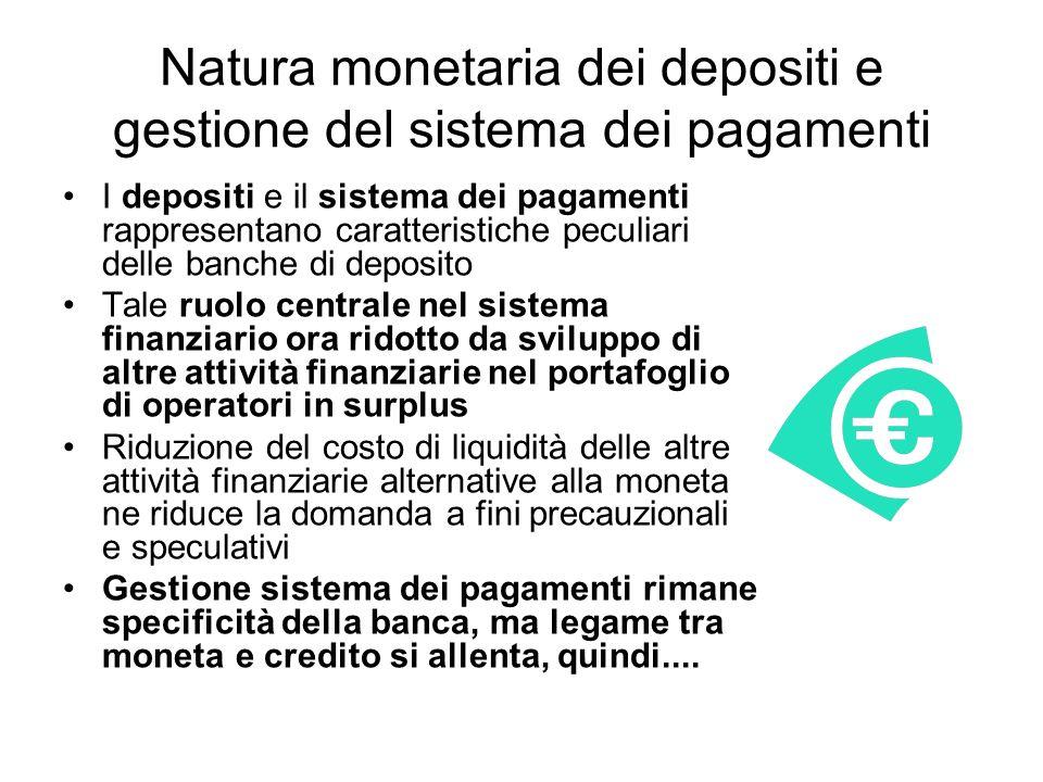 Natura monetaria dei depositi e gestione del sistema dei pagamenti