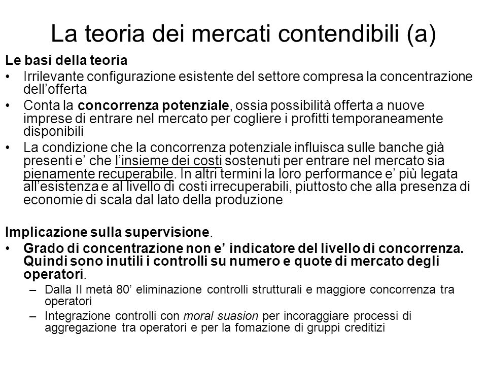 La teoria dei mercati contendibili (a)