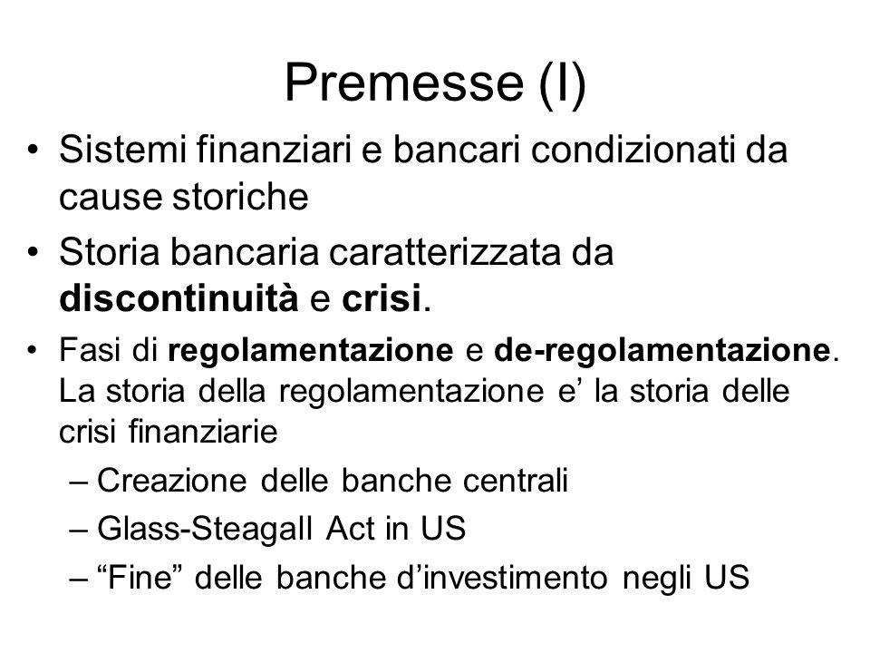 Premesse (I) Sistemi finanziari e bancari condizionati da cause storiche. Storia bancaria caratterizzata da discontinuità e crisi.