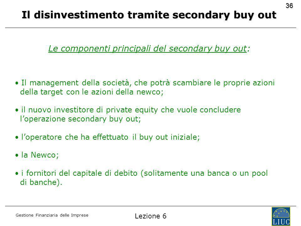 Il disinvestimento tramite secondary buy out