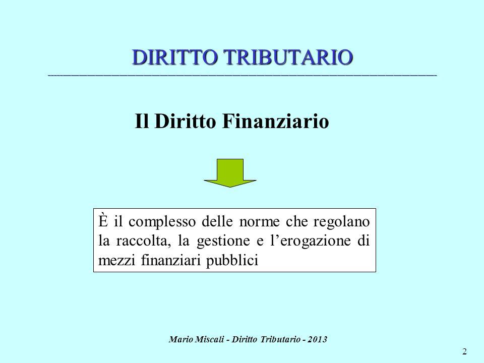 Il Diritto Finanziario Mario Miscali - Diritto Tributario - 2013