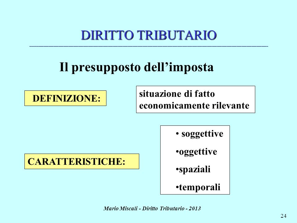 Il presupposto dell'imposta Mario Miscali - Diritto Tributario - 2013