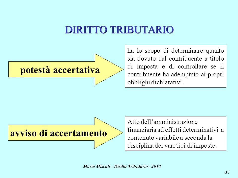 avviso di accertamento Mario Miscali - Diritto Tributario - 2013