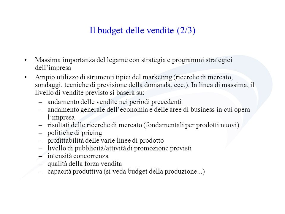 Il budget delle vendite (2/3)