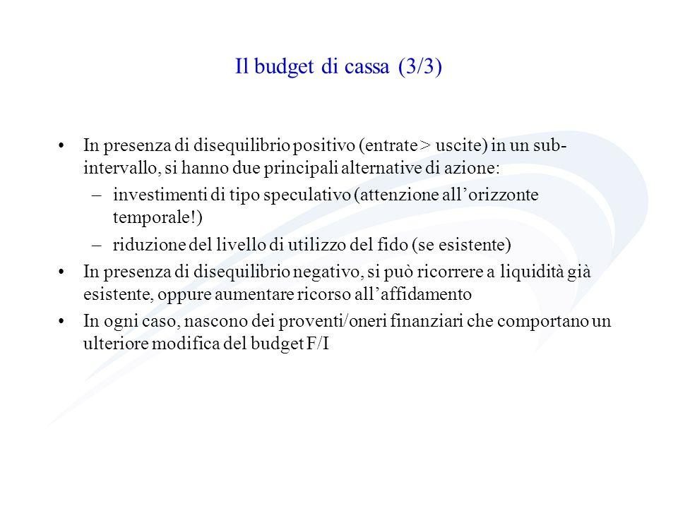 Il budget di cassa (3/3)