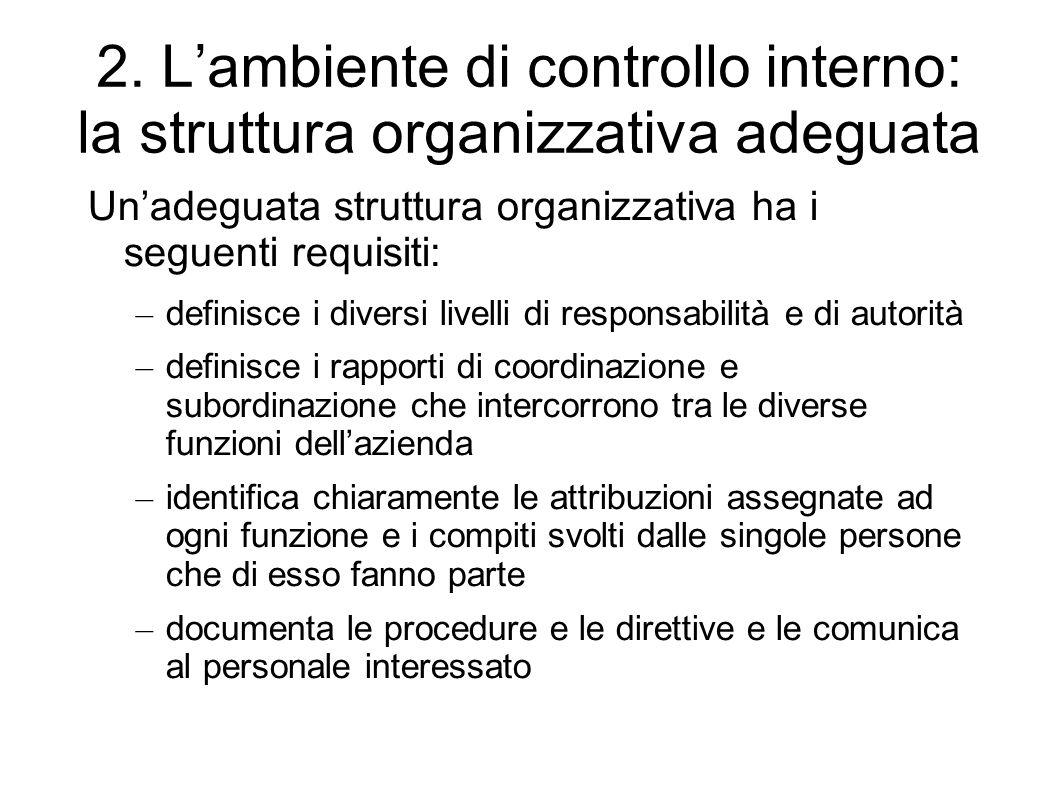 2. L'ambiente di controllo interno: la struttura organizzativa adeguata