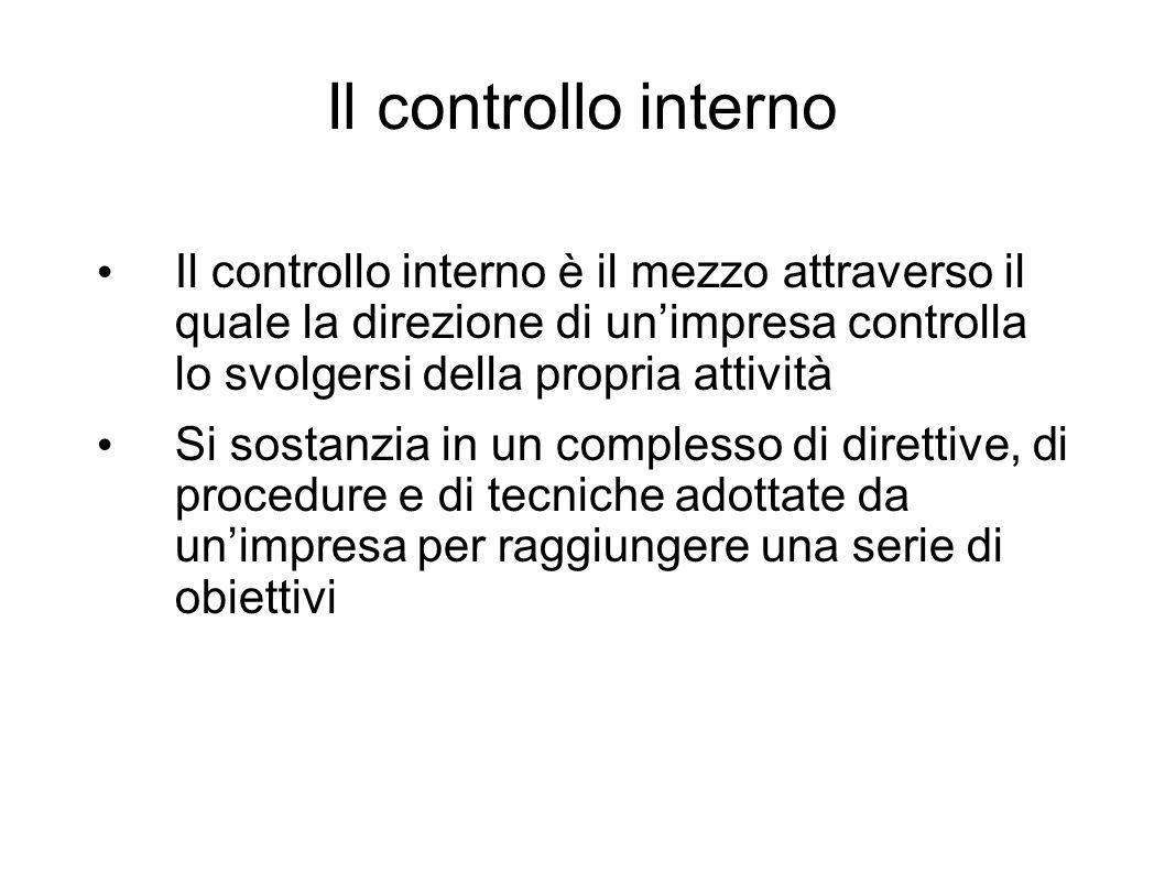 Il controllo interno Il controllo interno è il mezzo attraverso il quale la direzione di un'impresa controlla lo svolgersi della propria attività.