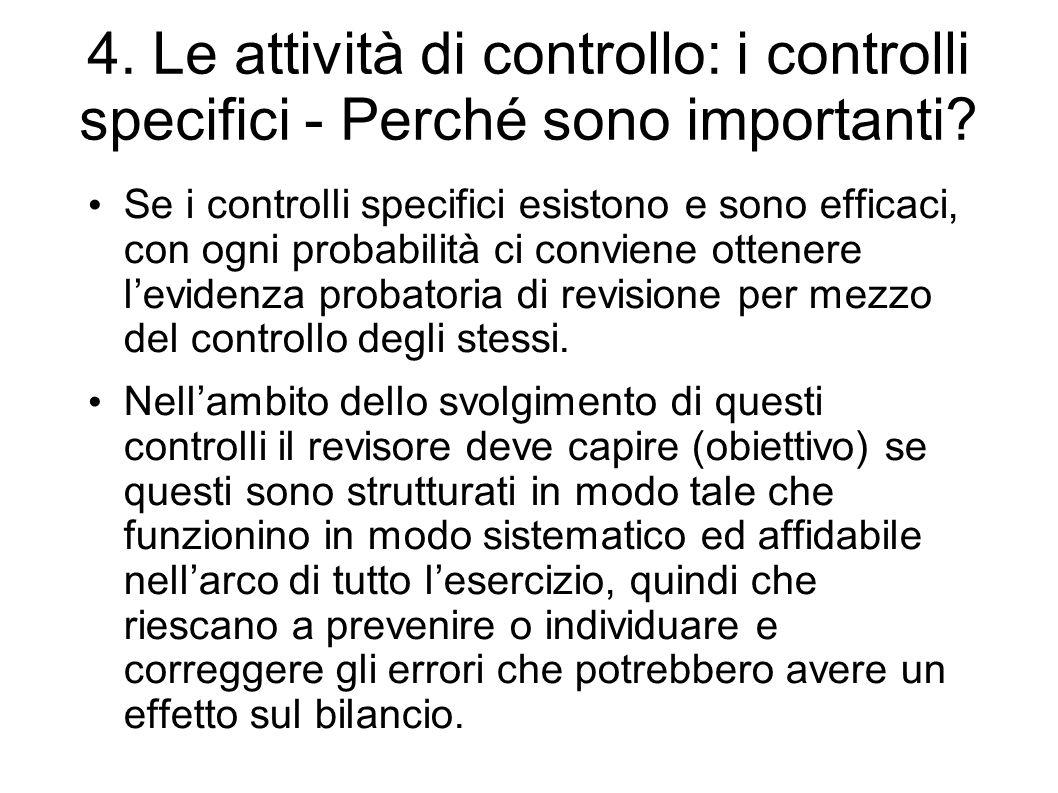 4. Le attività di controllo: i controlli specifici - Perché sono importanti