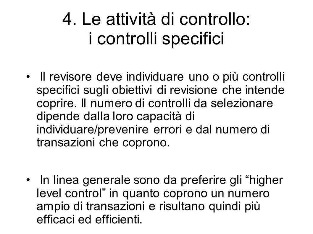 4. Le attività di controllo: i controlli specifici
