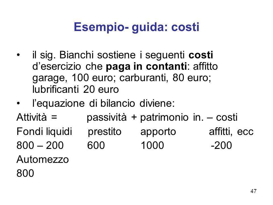 Esempio- guida: costi