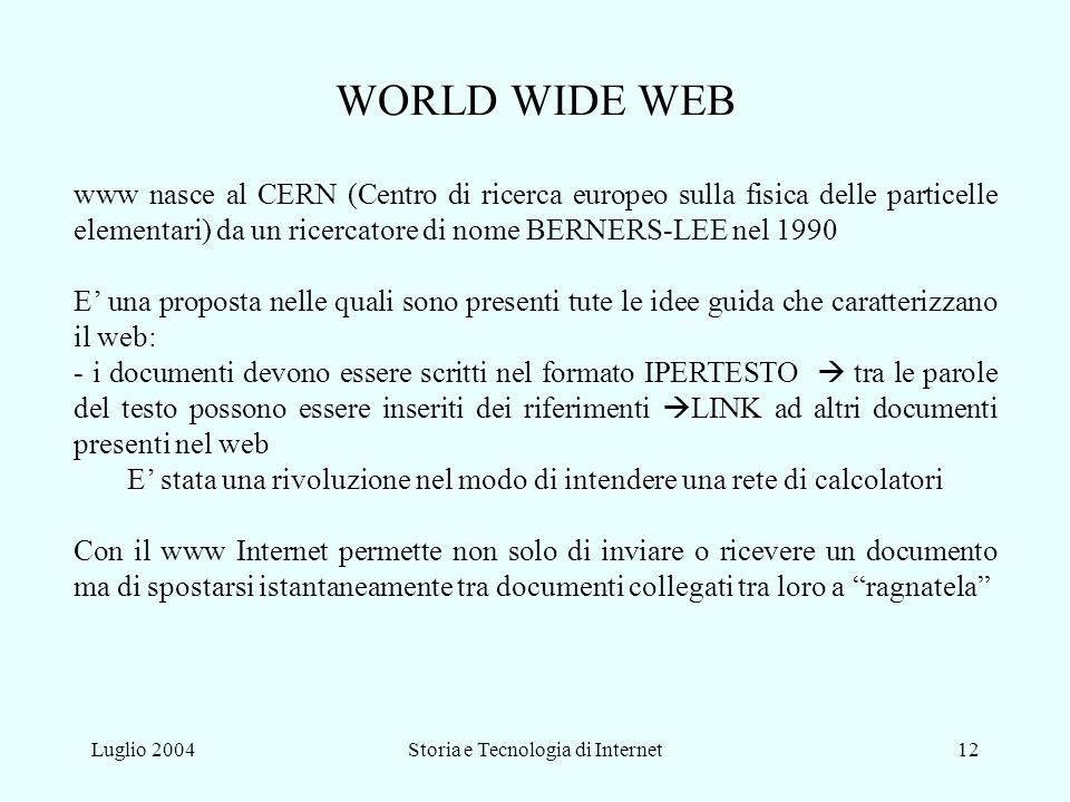 WORLD WIDE WEB www nasce al CERN (Centro di ricerca europeo sulla fisica delle particelle elementari) da un ricercatore di nome BERNERS-LEE nel 1990.