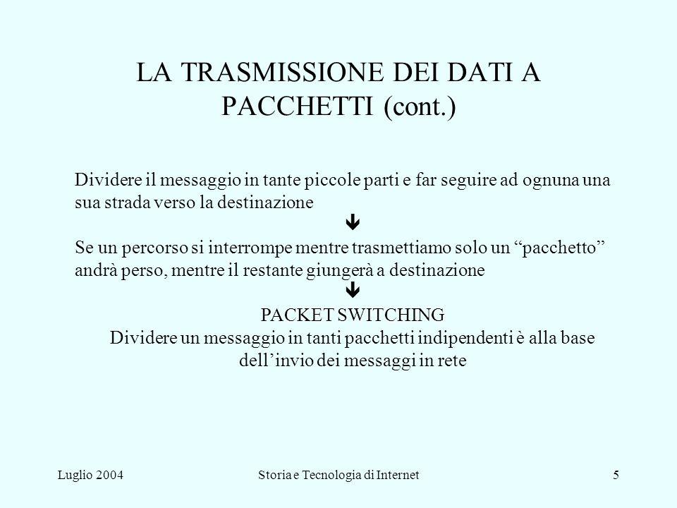 LA TRASMISSIONE DEI DATI A PACCHETTI (cont.)