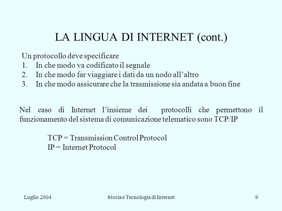 LA LINGUA DI INTERNET (cont.)