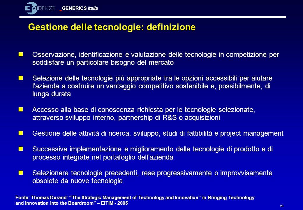 Gestione delle tecnologie: definizione