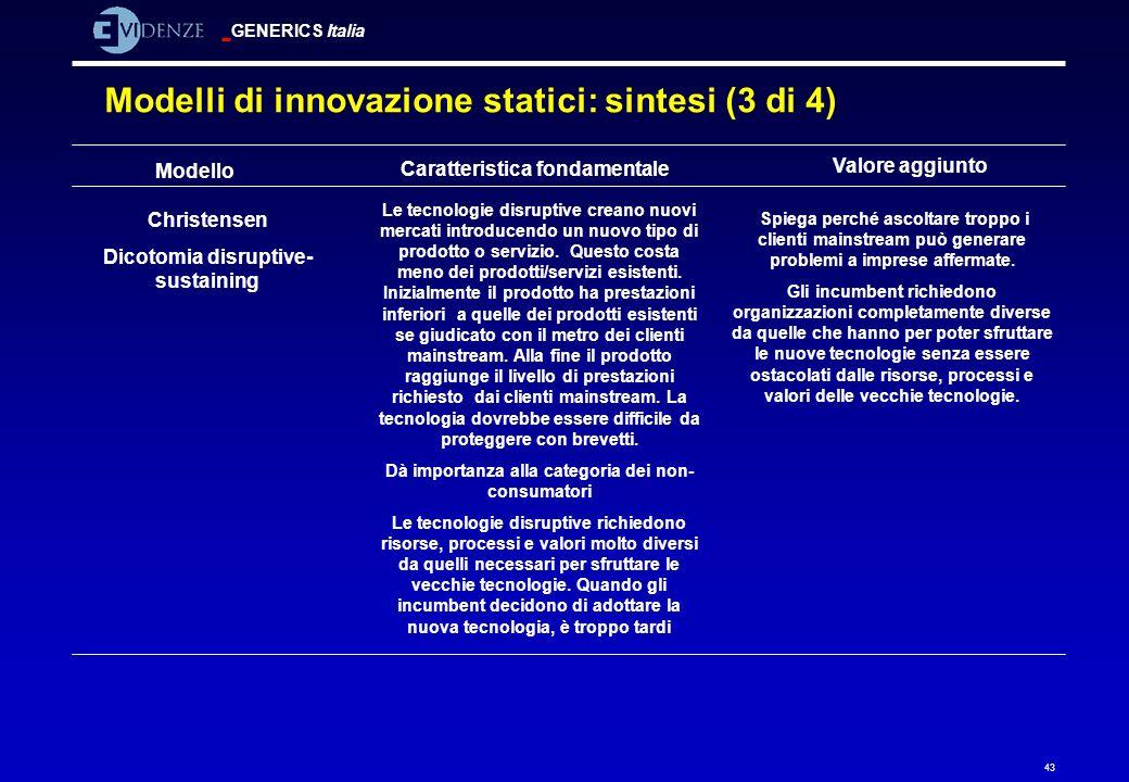 Modelli di innovazione statici: sintesi (3 di 4)