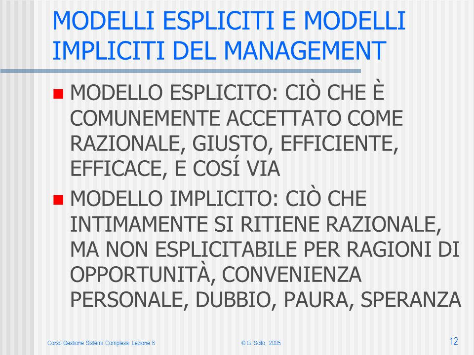 MODELLI ESPLICITI E MODELLI IMPLICITI DEL MANAGEMENT