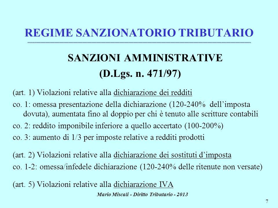 SANZIONI AMMINISTRATIVE Mario Miscali - Diritto Tributario - 2013