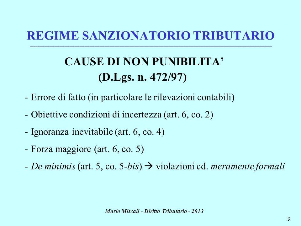 CAUSE DI NON PUNIBILITA' Mario Miscali - Diritto Tributario - 2013