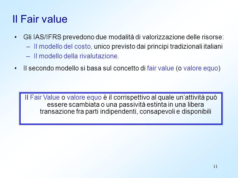 Il Fair value Gli IAS/IFRS prevedono due modalità di valorizzazione delle risorse:
