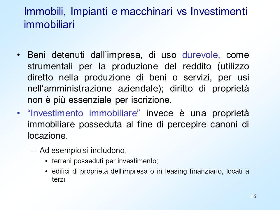 Immobili, Impianti e macchinari vs Investimenti immobiliari