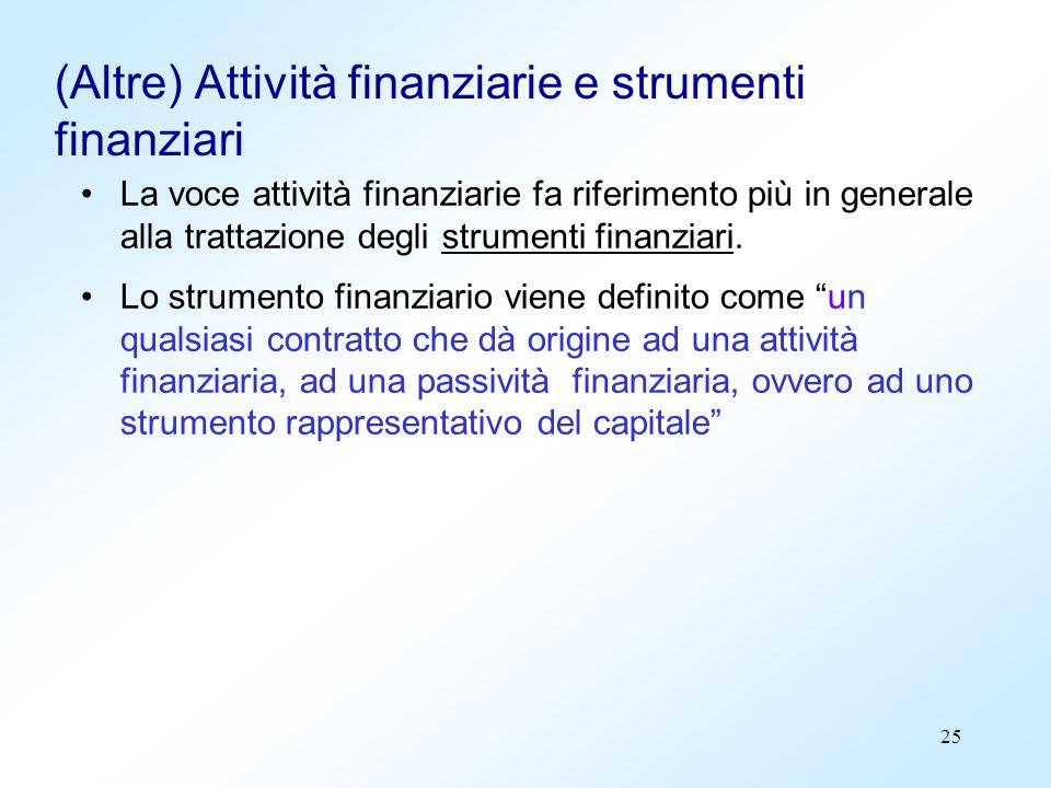 (Altre) Attività finanziarie e strumenti finanziari