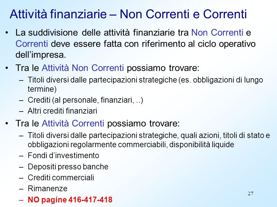 Attività finanziarie – Non Correnti e Correnti