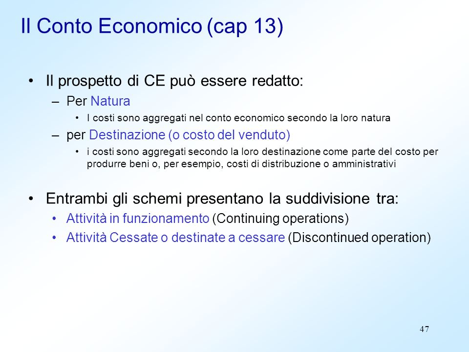 Il Conto Economico (cap 13)