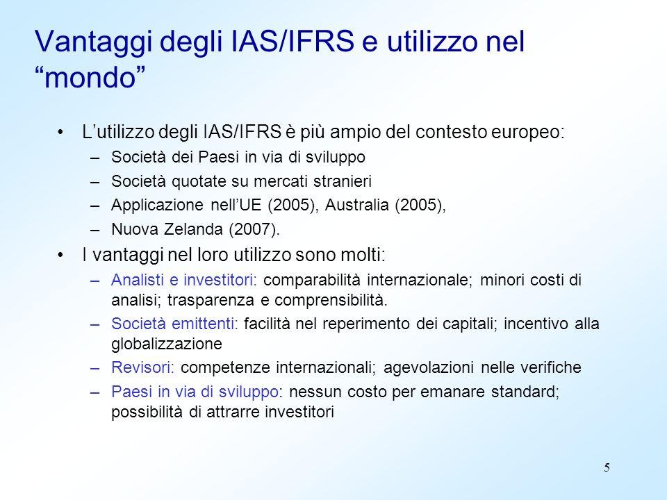 Vantaggi degli IAS/IFRS e utilizzo nel mondo