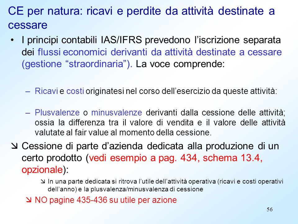 CE per natura: ricavi e perdite da attività destinate a cessare