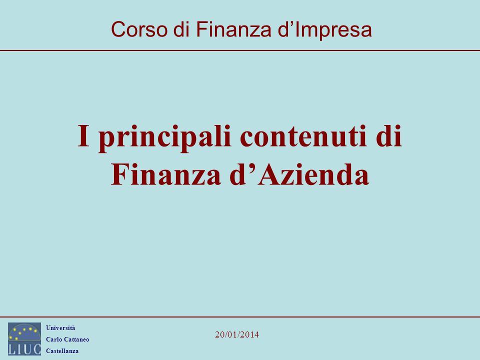 I principali contenuti di Finanza d'Azienda