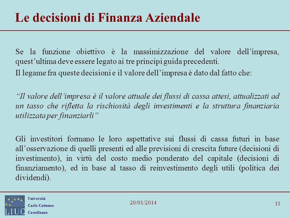 Le decisioni di Finanza Aziendale