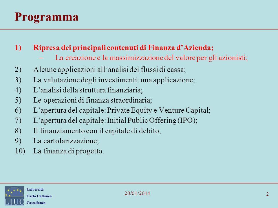 Programma Ripresa dei principali contenuti di Finanza d'Azienda;