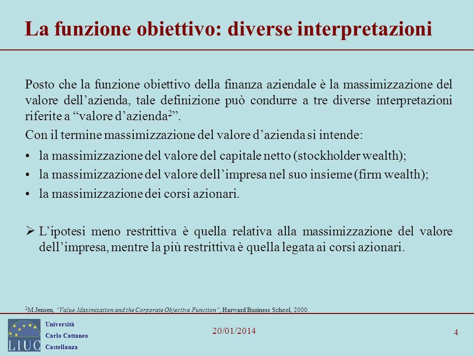 La funzione obiettivo: diverse interpretazioni