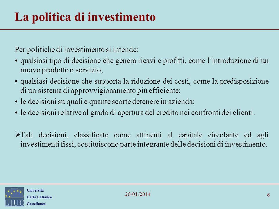La politica di investimento