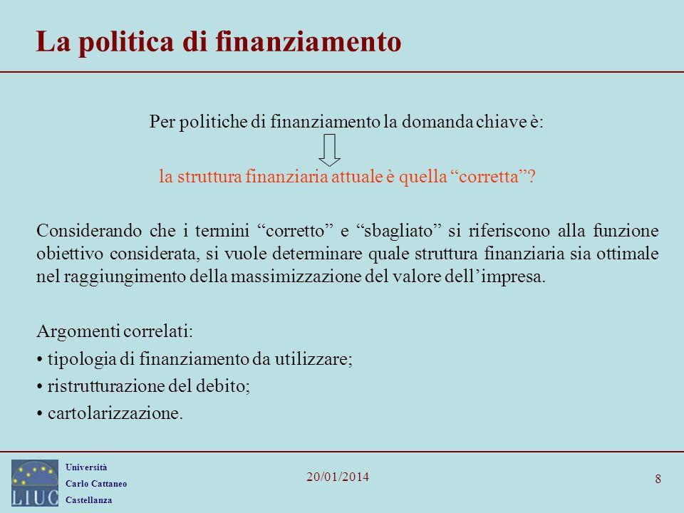 La politica di finanziamento