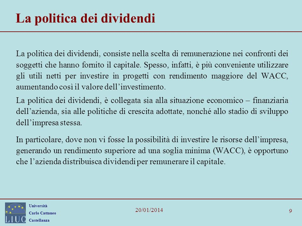 La politica dei dividendi